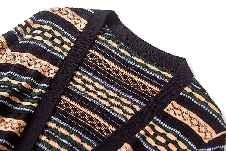 2018 Femmes Ceinture Et Vêtements Marques Couleur Long Couture Européen De Américain Pull Rayé Cardigans Micosoni Multi Haute EYxdqY