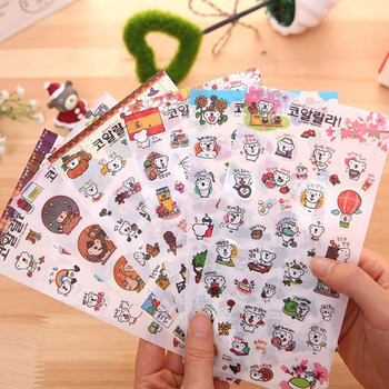 6 / Pack, Korea Cute Koala Bear Transparent Sticker Student Stationery Cartoon Decoration Diy Diary Scrapbook Boy Girl Gift