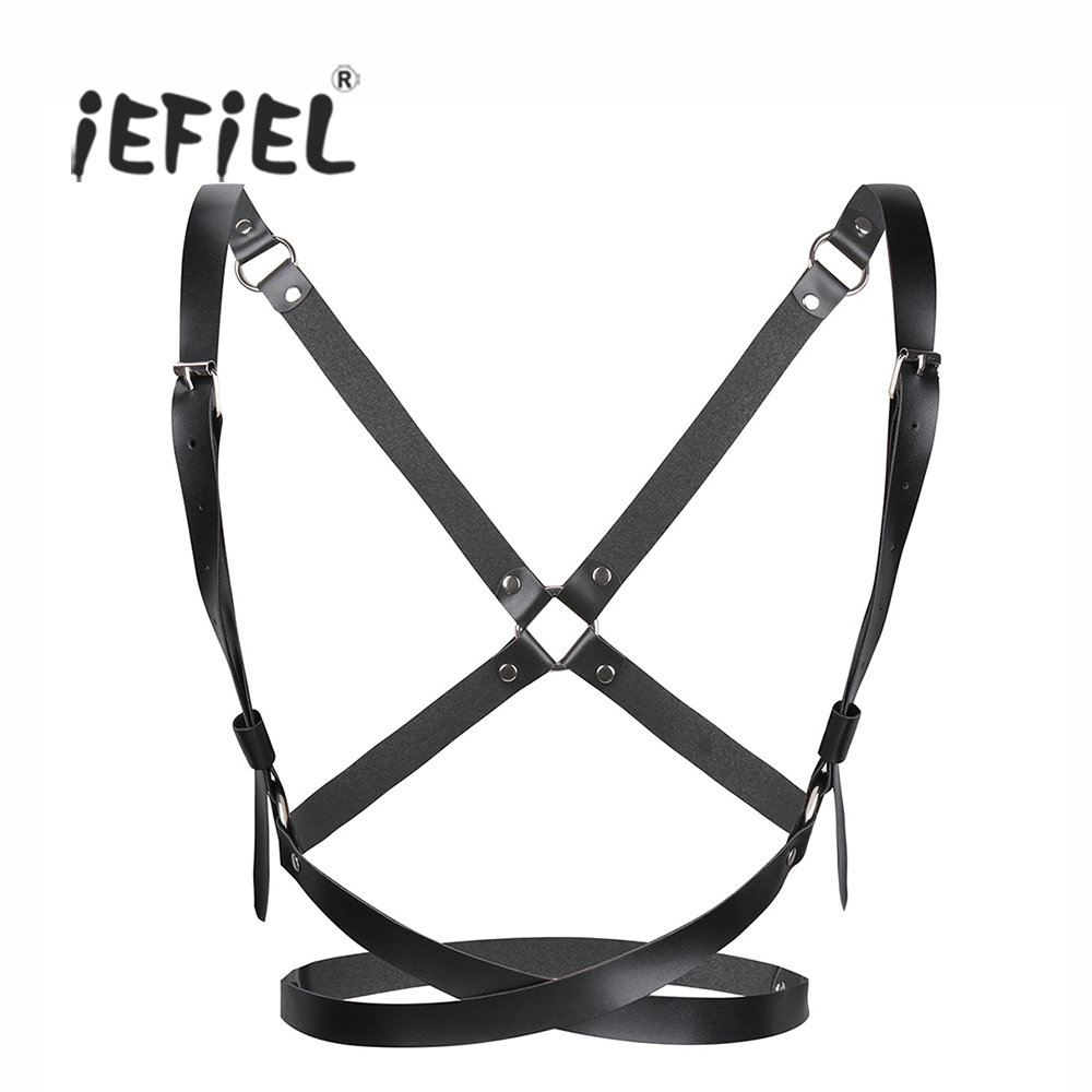 Image iEFiEL Fashion Women PU Leather cosplay Adjustable Body Chest Harness Bondage Belt with Buckles and O rings for X shaped Back