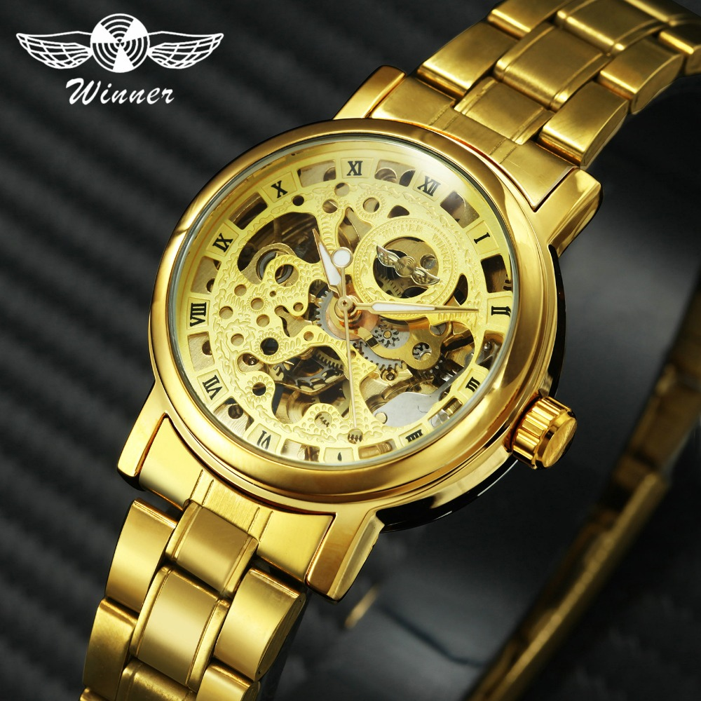 WINNER Golden Luxury Women Watches Full Stainless Steel Automatic Mechanical Wrist Watches Roman Number Skeleton Clock +GIFT BOX winner men luxury dress automatic mechanical watch stainless steel strap skeleton roman number dial 3d gear bezel design box