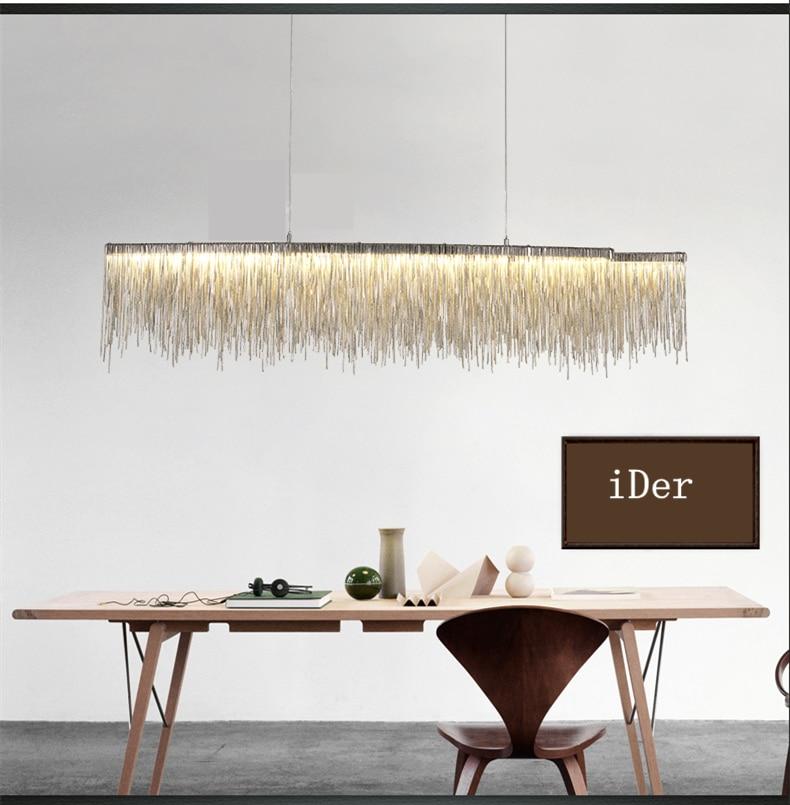 Image 5 - Modern designer decorative chandelier Nordic tassel restaurant luxury hotel engineering chain living room art lighting-in Chandeliers from Lights & Lighting