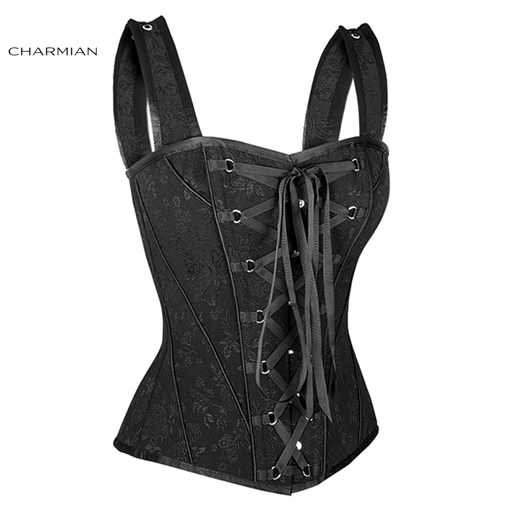 Image 5 - Charmian Women's Sexy Victorian Vintage Corset Vest Floral Bridal Overbust Corsets and Bustiers with Shoulder Straps Corselet-in Bustiers & Corsets from Underwear & Sleepwears