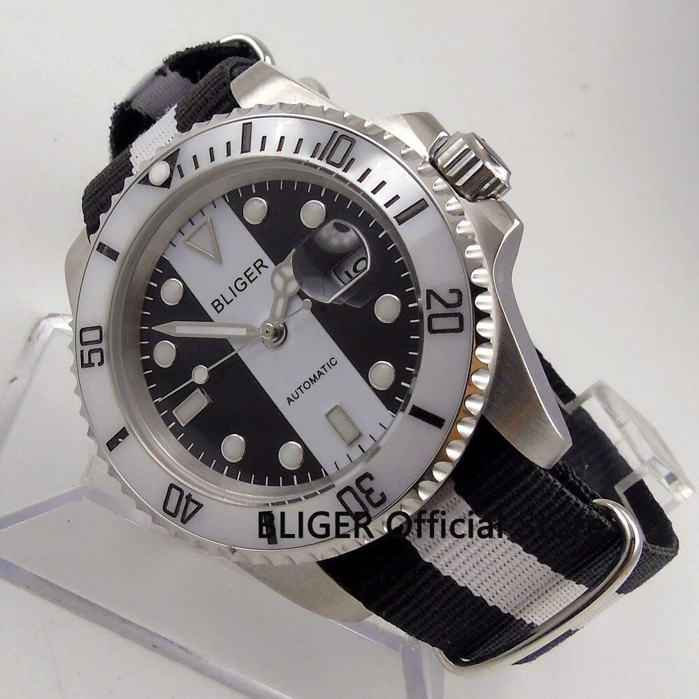 Sapphire Crystal BLIGER 40mm Black White Dial Ceramic Rotating Bezel Luminous Pointer Miyota Automatic Movement Men's Watch B147 недорго, оригинальная цена