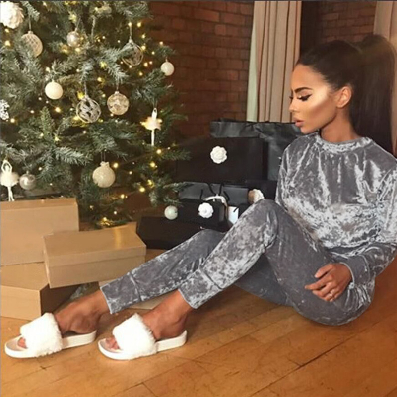 TANIAFA Velvet women's suits high quality solid color long sleeve tops + long pants tracksuits female two piece set clothing