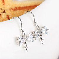 6 10mm Bead Pearl 925 Sterling Silver Hook Chandelier Women Earrings Crystal Fine Jewelry