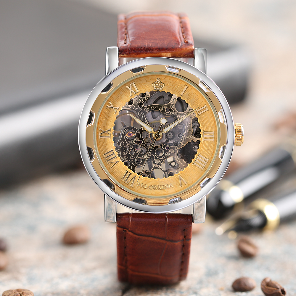 Golden Skeleton Fashion Brown Leather Strap Band Cool Women Casual Automatic Hand-Winding Mechanical Business Men Wrist Watch luxury women hand winding mechanical wrist watch genuine leather band strap dress wind up skeleton roman number stylish