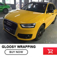 Yellow Vinyl Car Wrap SUPER Gloss Vinyl Wrap With Air Release FOR Vw Passat B6 For