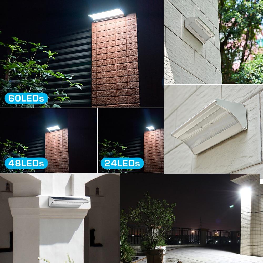 Modern 24/48/60 leds Wall solar lamp Radar motion sensor induction sense Garden decoration Led solar light outdoor waterproof