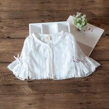 3/4 белая куртка с рукавами для маленьких девочек, кардиган, пляжная одежда, пальто для маленьких девочек 9, 12, 24 месяца, одежда для маленьких девочек, RKC195003