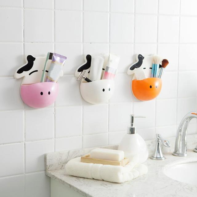 . US  1 72  Cute Cow Bathroom Toothbrush Toothpaste Holder Toothbrush Holder  Suction Hooks Tooth Brush Rack Bathroom Accessories Sets in Bathroom
