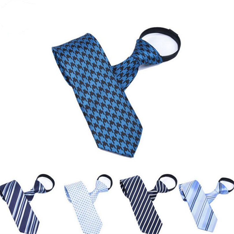 Novelty Mens Lazy Zipper Ties Classic Stripes Formal Bridegroom Wedding Business Necktie 7CM FashionTies For men Dots Corbatas
