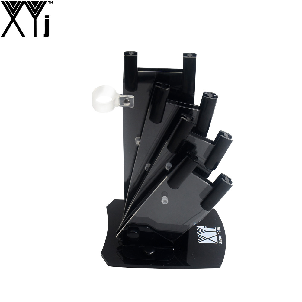 XYj 5-Pieces Set Knife Stand Used For 3 4 5 6 Ceramic Knife + One Peeler High Grade Acrylic Knife Holder Black Knife Block