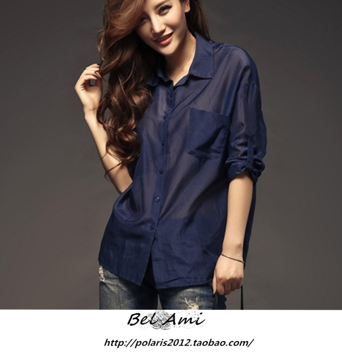 silk shirt women's navy blue-in Blouses & Shirts from Women's ...