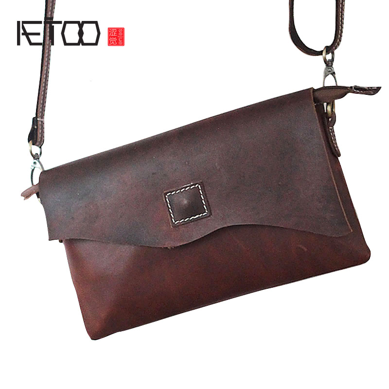 AETOO West ancient retro leather bag men bag British mad Madi shoulder oblique cross package men and women leather handbag