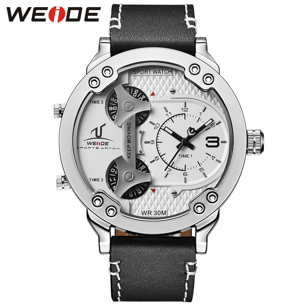 WEIDE Brand Men Sport Watches Three Time Zones Analog Quartz Movement Genuine Leather Strap Band Buckle Waterproof White Dial pure white dial face ziz time watches navy