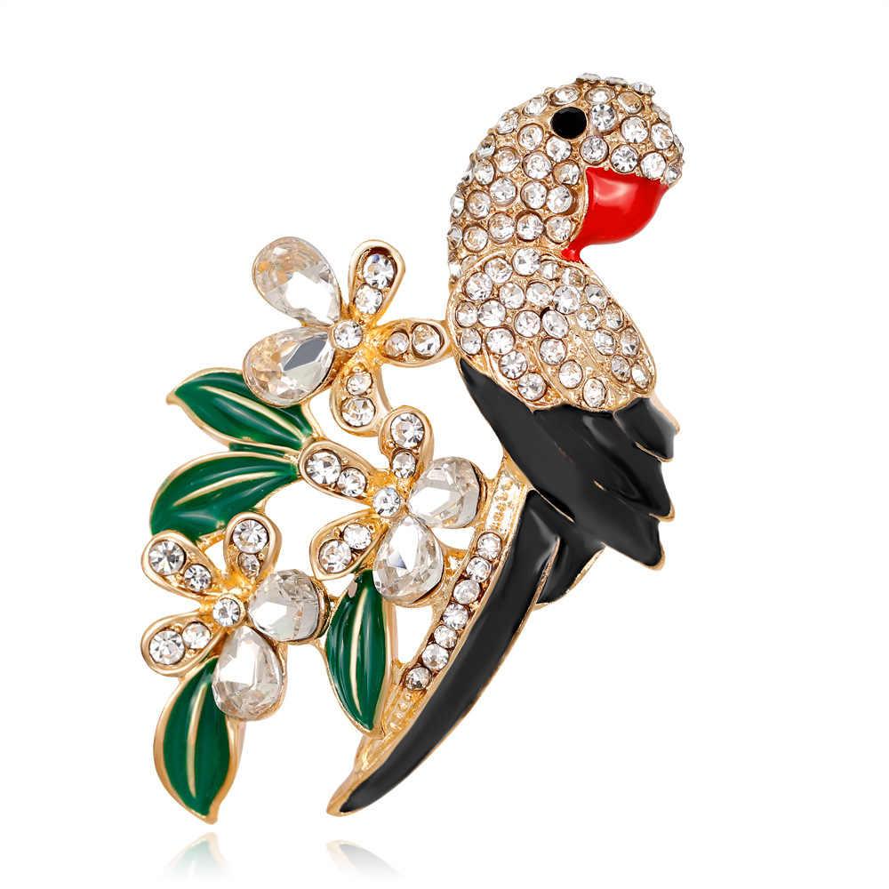 Banyak Desain Live Indah Parrot Bros Burung Hewan Bros Enamel Emas Warna Perak Perhiasan Berlian Imitasi untuk Wanita Aksesoris