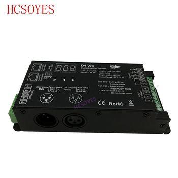 D4-XE 4 ช่อง PWM แรงดันไฟฟ้าคงที่ตัวถอดรหัส DMX พร้อมจอแสดงผลดิจิตอล XLR3 และ RJ45 พอร์ต DC12-36V อินพุต 8A * 4CH