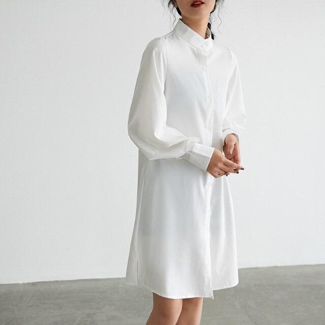 Casual Loose Women Long Shirts 2019 New Fashion Collar Plus Size Blouse Long Sleeve Buttons White Shirt Women's Tops Streetwears 2