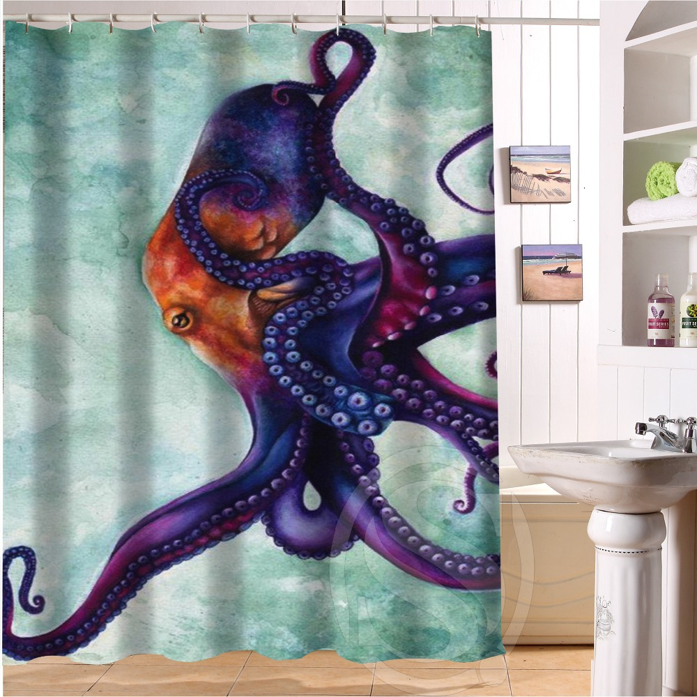 Custom Home Decor Collosal Polypus octopus Fabric Moden Shower Curtain bathroom Waterproof 66x72 Free Shipping