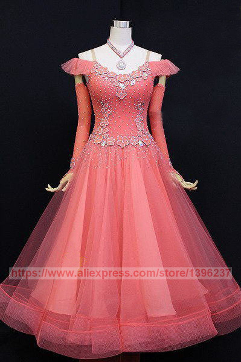 Ballroom Dance Dresses For Women Hot Pink Stage Tango Flamenco Modren Waltz Ballroom Competition Dancing Dress