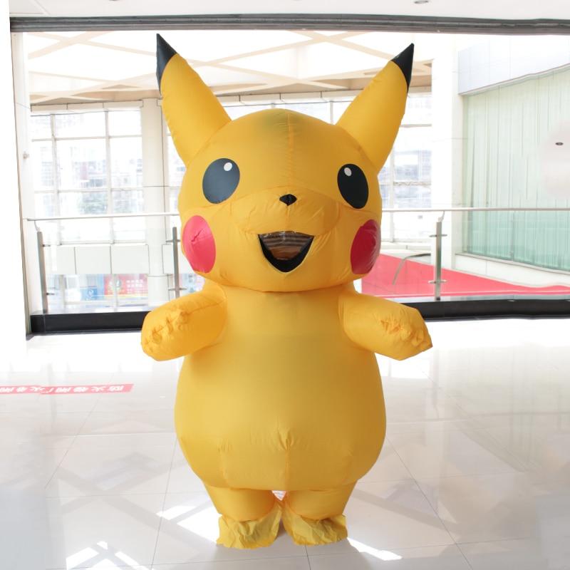 Pikachu Traje Inflable Adulto Gran Mascota Cosplay Spirit Trajes Disfraces de Halloween Pikachu Para 1.5m-1.85m Mujeres hombres