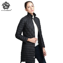 hydiber 2017 New Winter Long Sleeve Black Diamond Pleated Women Parka Ladies Navy Blue Fall Outwear Female Clothing Coats Tops