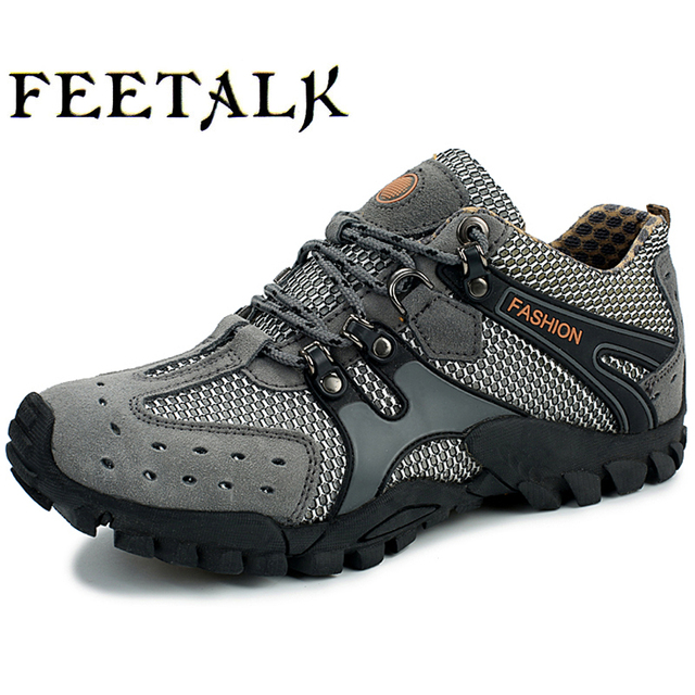 Mens Outdoor Antiskid Leisure Sports Running Hiking Leather Slip On Shoes Size