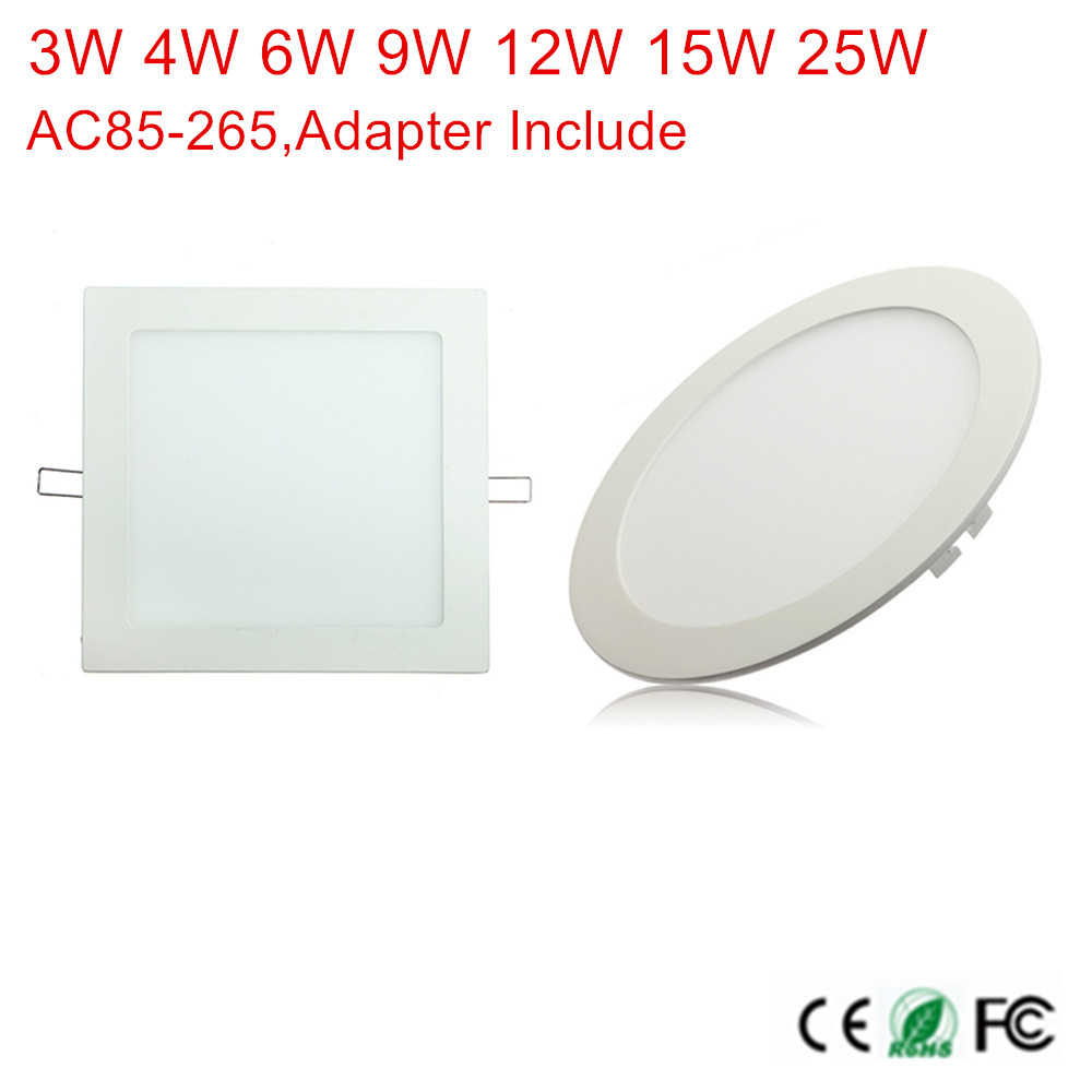 Ultra Thin Led Panel light Round/Square 3w 4w 6w 9w 12w 15w 25w LED Ceiling Recessed Down Light AC85-265V + Driver LED downlight 1pcs ultra slim embeded 12w round led panel light smd3014 ac85 265v led indoor ceiling lamp white warm white with led driver