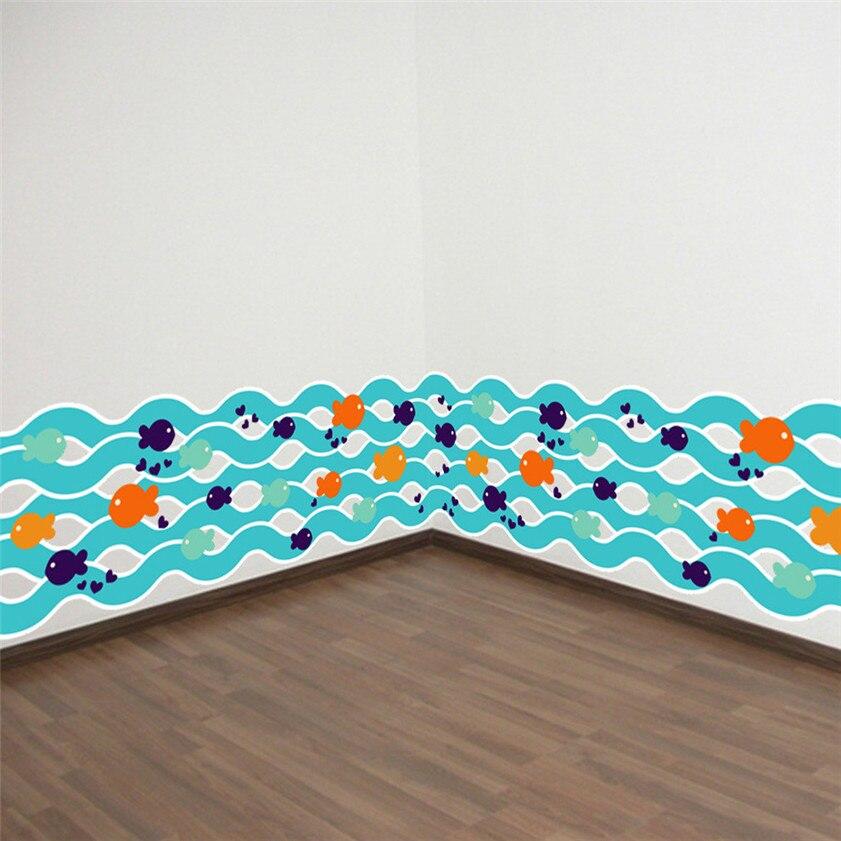 Wallpaper Sticker Blue Small Fish Waist line Paint Wall Sticker Decor Skirting Line Door Background Wallpaper For Living Room B#