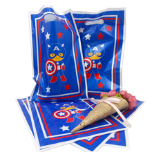 6pcs Captain America party theme PE printed plastic candy bags,shopping gift bag for Kids happy birthday event supplies