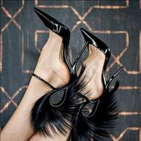 Black Feather High Heels Big Size Lady Pumps Buckle Strap Lady Pointed Toe Fashion Women Shoes Pointed Toe Fashion Women Shoes