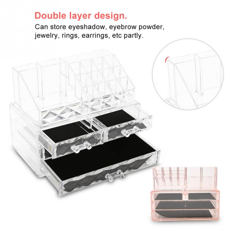 Clear Acrylic Makeup Storage Case Nail Polish Rack Lipstick Brush Cosmetic Storage box Holder Makeup Brush Make Up Organizer makeup organizer storage box acrylic make up organizer cosmetic organizer makeup storage drawers organiser
