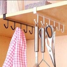 6 крючков, кухонный шкаф, подвесной стеллаж, крепится в доске, вешалка, органайзер, полка, крючок, металлический, для хранения, многофункциональный,# B10