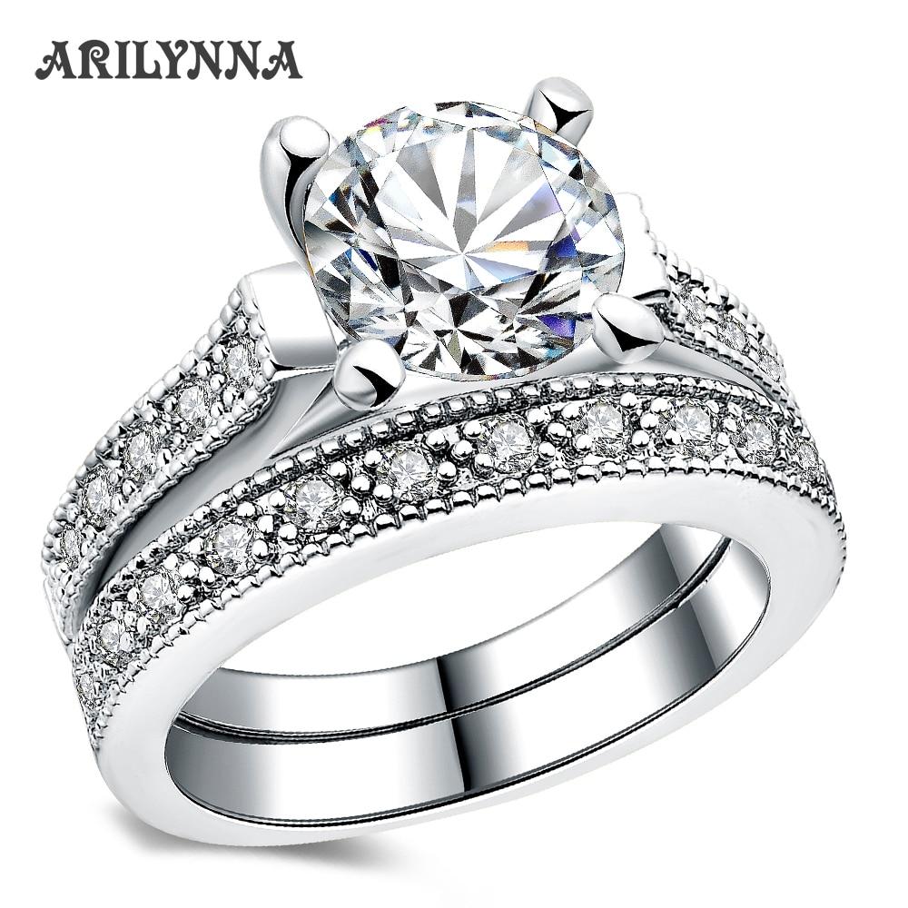 Arilynna Classical Round White Cubic Zirconia Women Female Wedding  Anniversary Engagement Rings Original Jewelry Ri7051209