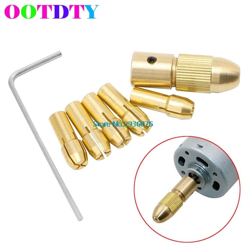 7pcs/lot 0.5-3mm Small Electric Drill Bit Collet Clamp Micro Twist Drill Tool Copper Chuck MY9 wlxy wl diy001 copper twist drill bit collet set golden yellow