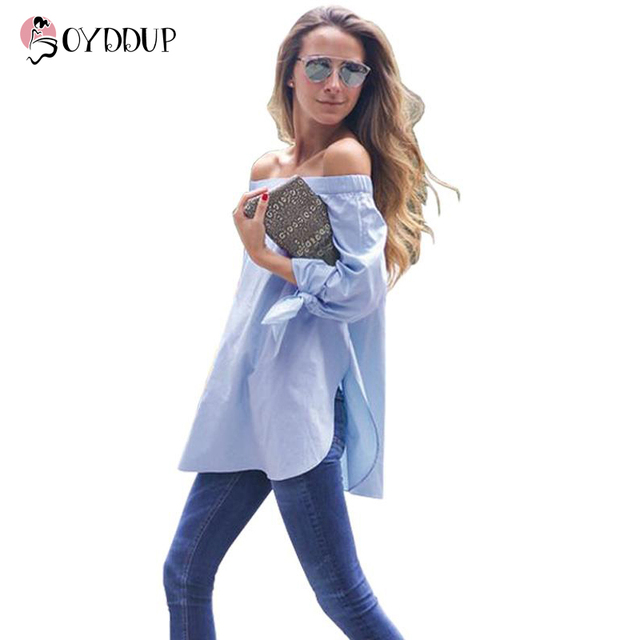 b11d0e3d2dcf87 2017 Women Summer Elegant Fashion Blouse Strapless Striped Blue White Shirt  Bow Long Sleeve Plus Size tops Shirts DDUP5
