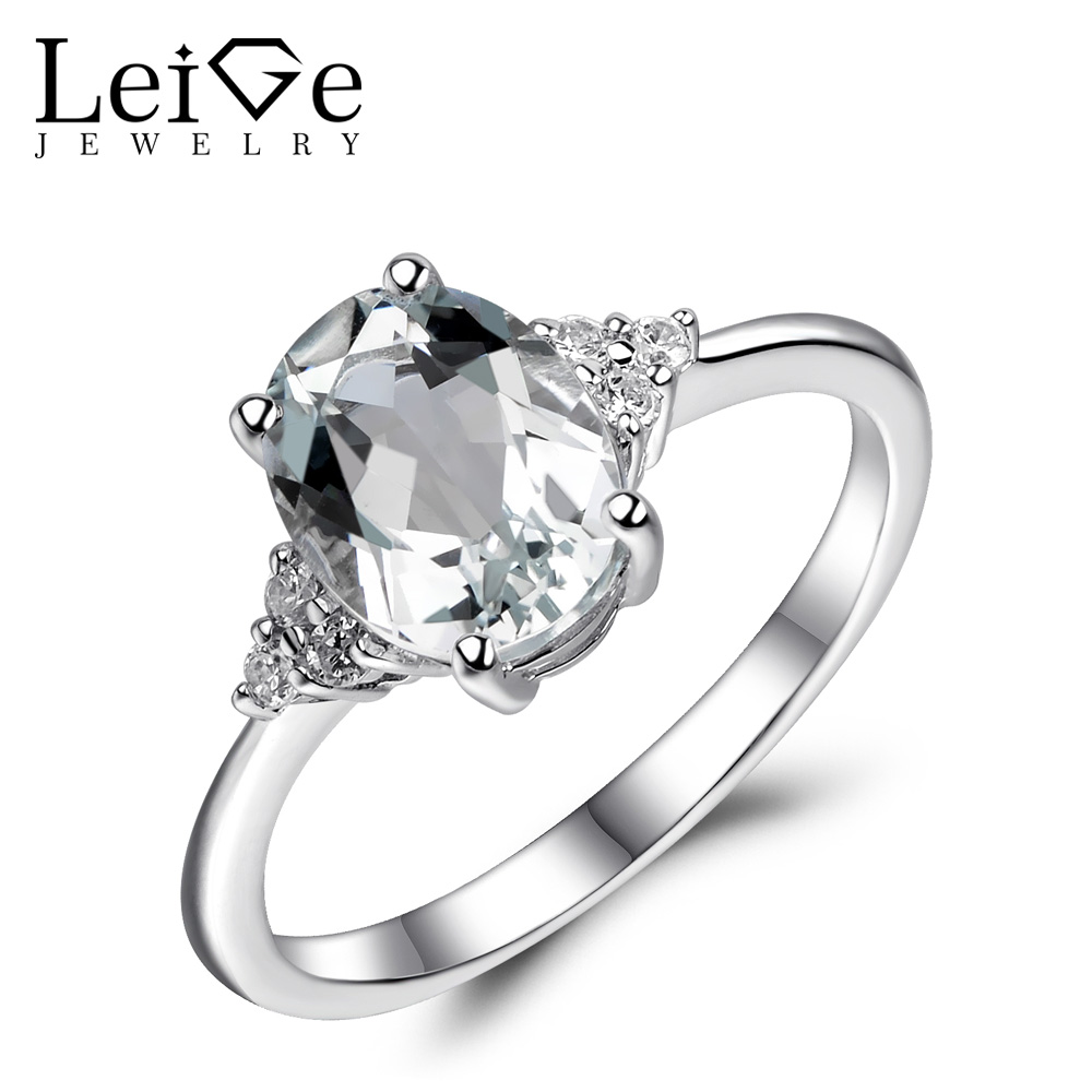 Leige Jewelry White Topaz Ring 925 Sterling Silver Natural Gemstone Rings for Women Engagement Promise Anniversary Gift