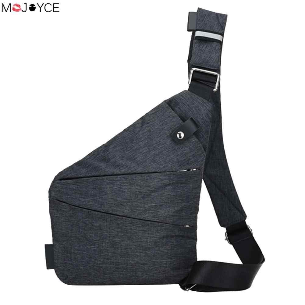 0616d28dd489 Новая модная мужская сумка слинг Повседневное нагрудная сумка из текстиля  простые тонкие сумка для Для мужчин