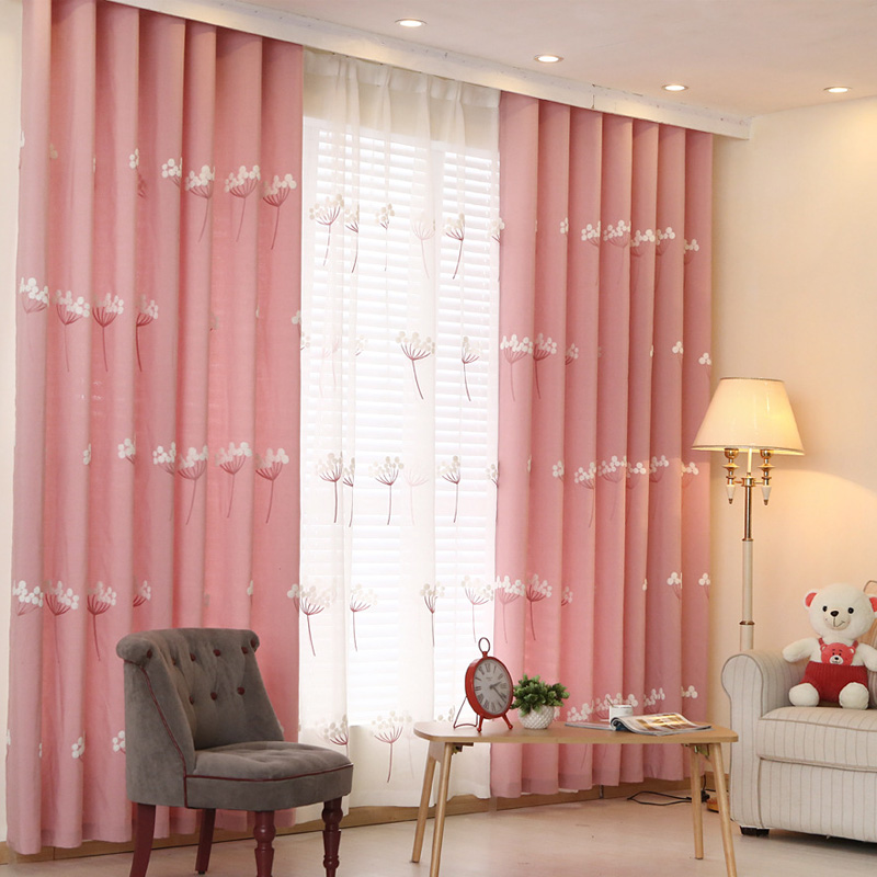 Embroidered curtains kid room girl bedroom blue pink curtain drape ...