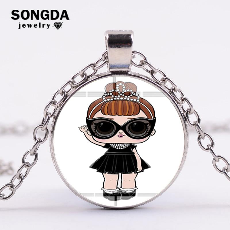 SONGDA Мода LOL куклы принцесса ожерелье из мультфильма Harajuku Стекло изображение кабошон ролевые игры цепочки и ожерелья s подвески для женщин обувь
