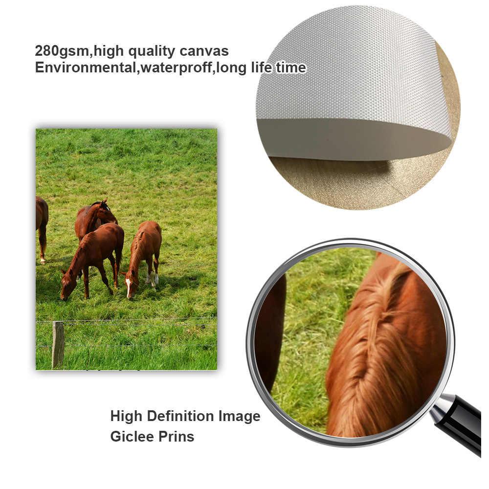 قطيع الماشية الخيول المراعي المشهد الرسم على لوحات القماش الجدارية الشمال الملصقات و يطبع جدار صور لغرفة المعيشة ديكور