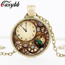 Steampunk clock glass dome pendant necklaces charms personality mechanical watches Pendant Choker Necklaces Jewelry FTC-N329