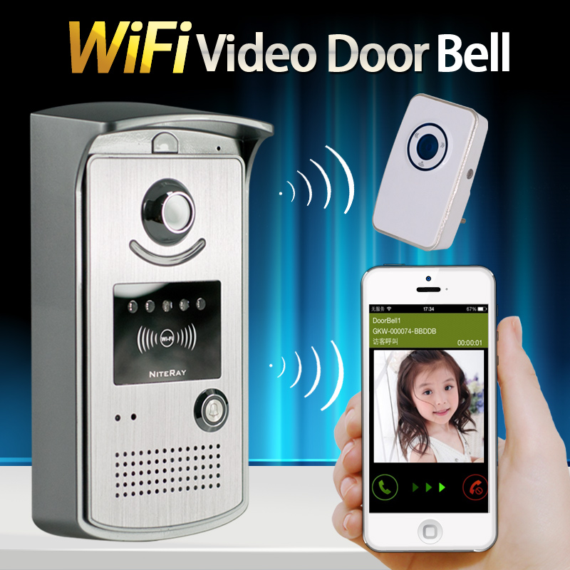 Top quality WiFi Remote Video Camera Door Phone Rainproof Intercom Doorbell IR Night Vision 3-5m with motion detection alarm kinco night vision video doorbell smart home wifi remote control hd waterproof dtmf motion detection alarm for phone