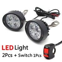 2 Pcs Universal LED Motorcycle Headlight Mirror Mount Driving Fog Spot Light Spotlight Assist Lamp Side