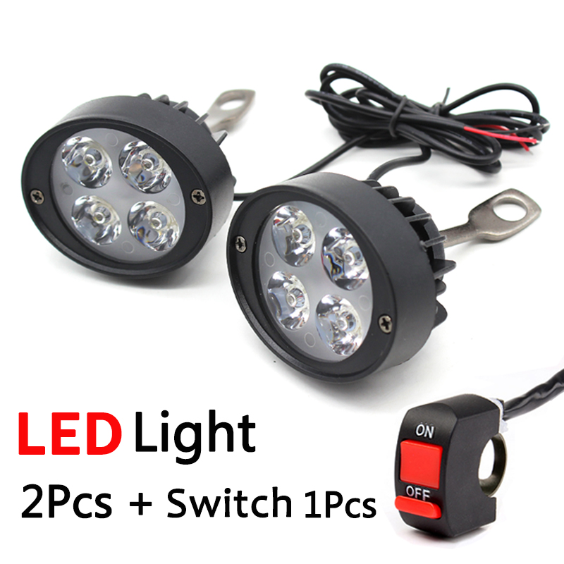 2pcs Universal LED Motorcycle Headlight Mirror Mount Driving Fog Spot Head Light Spotlight Assist Lamp Side Mirror Light Switch