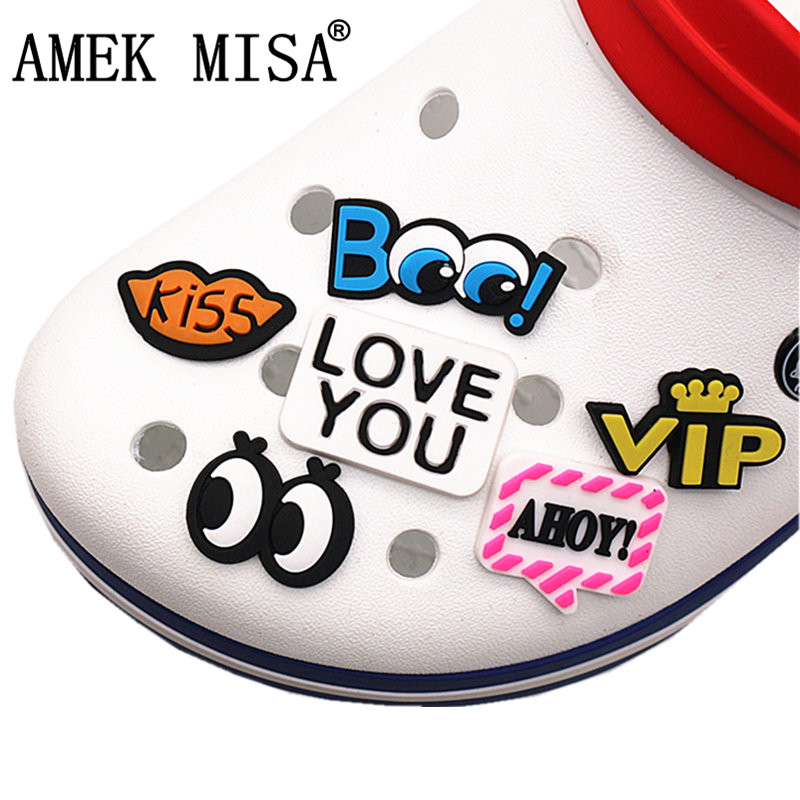Single Sale 1 To 6Pcs Novel Shoe Charms Accessories Eyes/VIP/KISS Shoe Decoration For Croc Jibz Kid's Party X-mas Gift DONG-YJ08