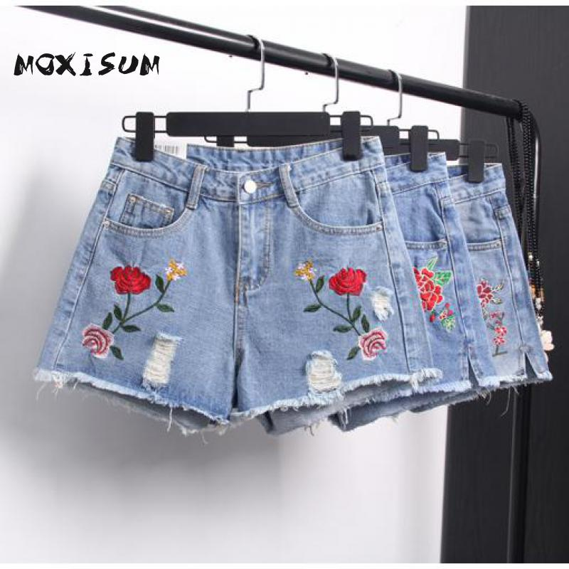 Moxisum font b Novelty b font Summer Rose Floral Embroidered High Waisted Denim Shorts Women Zipper