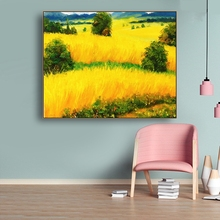 Golden Wheat Field Abstract Canvas Painting Modern Home Decor Posters And Prints Wall Art Picture Living Room Bedroom Decor buddha statue canvas painting religious wall art picture for living room bedroom decoration posters and prints modern home decor