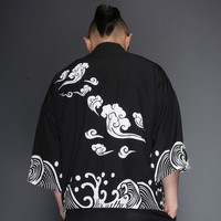 Chinese style Chinese clothing wave ripple tide printing men's cloak seven points sleeve sun shirt kimono coat