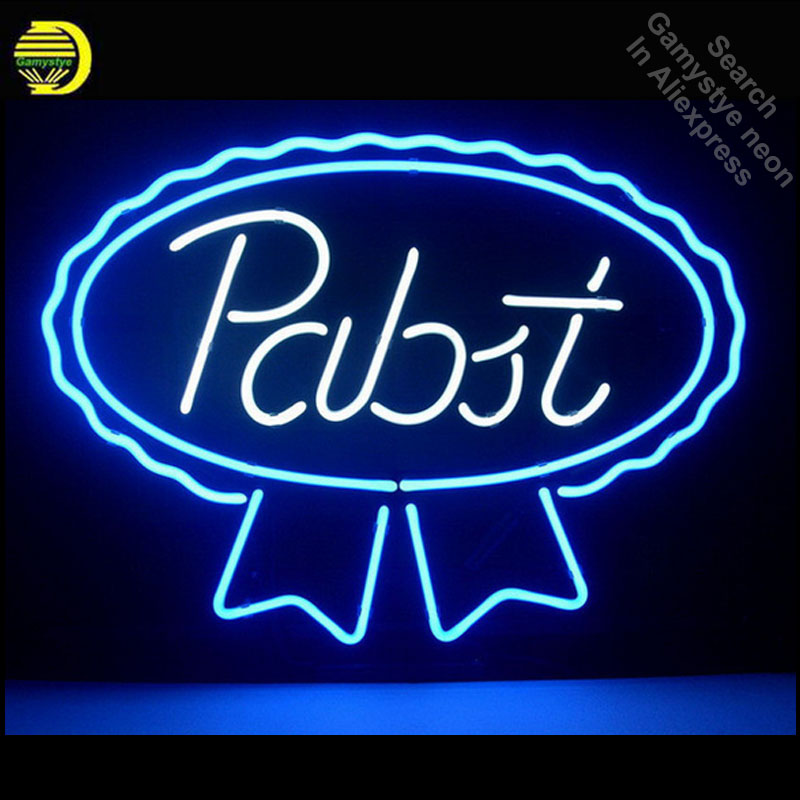 NEON SIGN PABST BLUE RIBBON LAGER ALE REAL Signboard REAL GLASS BEER BAR PUB display outdoor Light Signs 17*14 Dropshipping